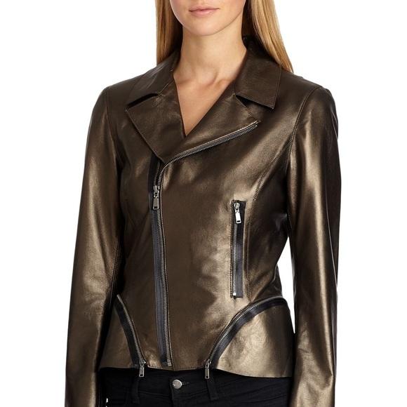 88a9b20fb2a5 Elie Tahari Jackets & Coats | Emalia Leather Jacket Peplum Metallic ...